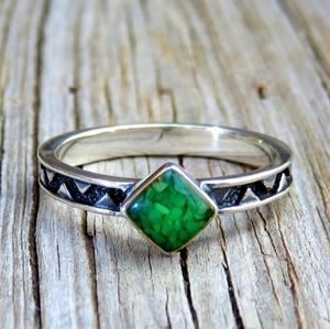 Vintage 925 Green Turquoise Chip Inlay Stack Ring